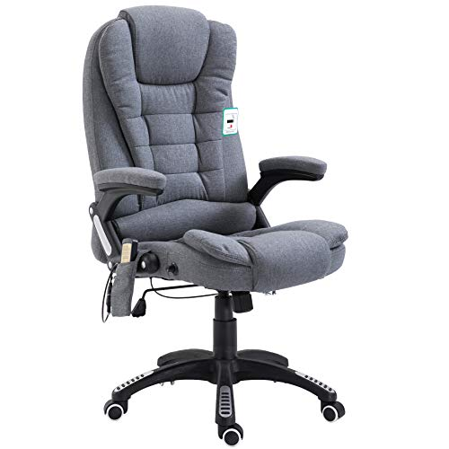 Cherry Tree Furniture Executive Recline Extra Padded Office Chair (Massage, Grey Fabric)