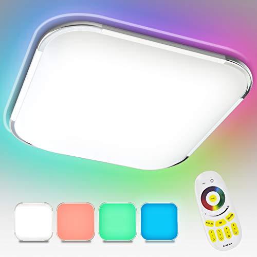 Hengda 36W Plafoniera LED RGB, Plafoniera Dimmerabile, bianco caldo/bianco freddo/bianco neutral, Impermeabile IP44, LED Lampada per Soggiorno Camera da letto Sala da pranzo Bagno Cucina Ufficio