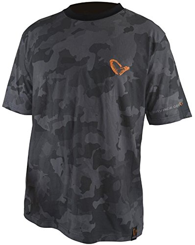 Savage Gear Camiseta Hombre Black Savage tee - Camou, S