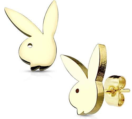 Pegasus Body Jewellery Ohrstecker, Design: Playboy Kaninchen, klein, mittel und groß, offizielles Lizenzprodukt, Goldfarben