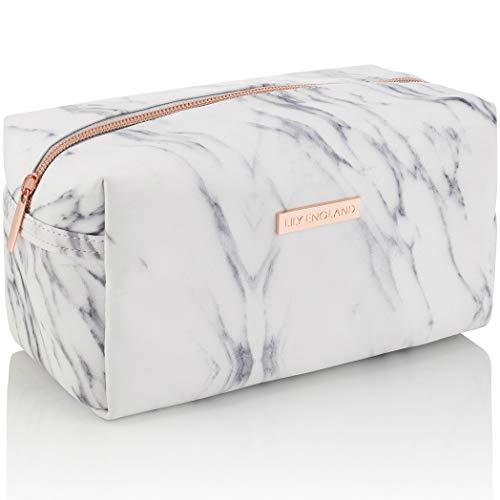 Lily England Kosmetiktasche & Mäppchen Marmor – Make Up Bag Schminktasche, Kosmetik Reise Kulturbeutel & Federmäppchen Täschchen mit Reißverschluss
