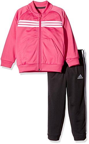 adidas Kinder Shiny Trainingsanzug, Top:Bahia Pink/White Bottom:Utility Black/White/Bahia Pink, 98