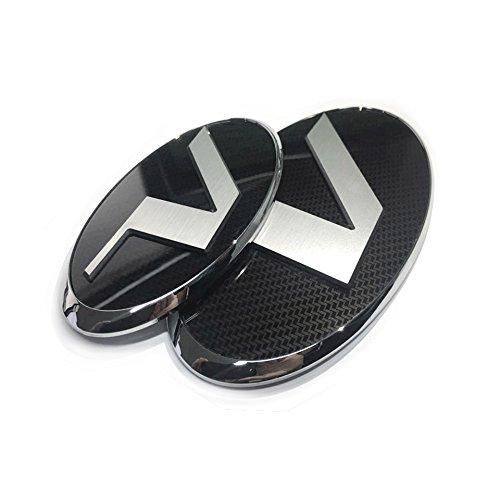 Front Grille + Rear Trunk Emblem Badge V Style Logo Carbon Black Sirver Hairline for HYUNDAI