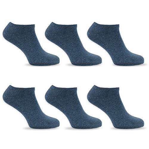 SoftSocks SNEAKER LOW CUT Calcetines para mujeres, hombres y adolescentes, varios tamaños, 6 pares: ¡Negro, blanco o mixto! Calidad de algodón! (Mezclilla azul, 35-38)
