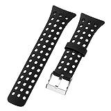 Smartwatch Strap Soft Silicone Rubber Men Watch Wrist Replacement Band Bracelet for Suunto M1 M2 M4 M5(Black)