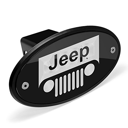 Jeep Grill Logo Black Metal Plate 2 inch Tow Hitch Cover