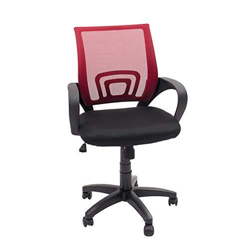 Homely Silla de Oficina, Estudio o Escritorio PRACTIK con Brazo y Tela 3D (Rojo MF-01)