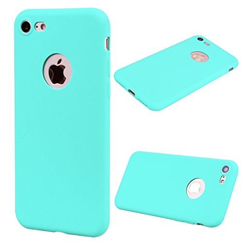 Everainy Funda Compatible para iPhone 7/iPhone 8 Silicona TPU Gel Case Color sólido Dibujos Cover Bumper Ultrafina Goma Caso Caucho Antigolpes (VerdeAzul Claro)