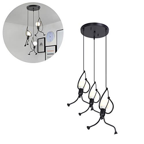 Macabolo Lámpara de techo Humanoide, creativa E27, luces colgantes vintage para comedor, restaurante, cafetería, bar, dormitorios