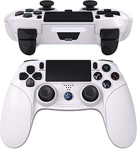 JOYSKY Wireless Controller Bluetooth Gamepad USB Controller mit Turbo/Touchpanel-Spielbrett mit doppelter Vibration/6-Axis Gyro Funktion/Mini-LED-Lenkrad (Weiß)