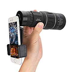 16x52 High Power Magnification: 16x magnification and 52mm object lens diameter monocular provides a clearly and bright image, you can enjoy the large field of view: 216ft/8748yard Better Contrast And Resolution Images: FMC wide band green film, the ...