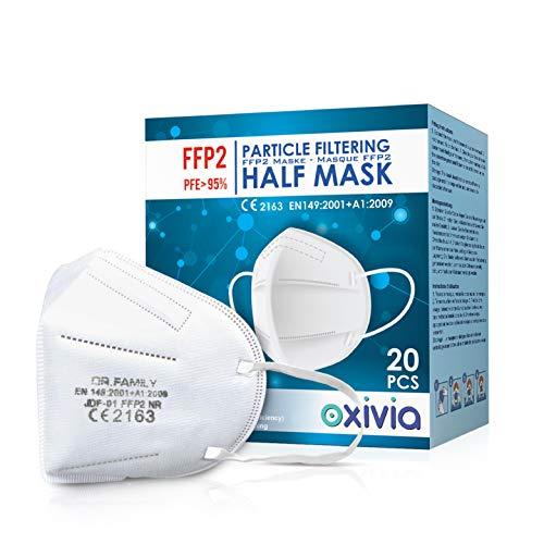 FFP2 Maske Atemschutzmaske CE-Zertifiziert - Box 20 Stück - Einzelbeutel - Mit adaptierbarem Nasenbügel| 4 Filtrationsdicke - Standardmaske nach EN 149: 2001+A1: 2009 - Modell Dr.Family