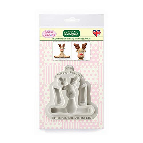 Reindeer Silicone Mould for Christmas Cake Decorating, Crafts, Cupcakes, Sugarcraft, Candies, Card Making and Clay, Food Safe Approved, Made in The UK, Sugar Buttons by Kathryn Sturrock