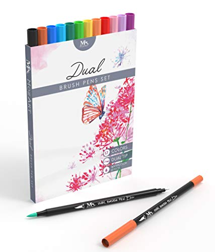 MozArt Supplies Dual Tip Brush Pen Marker Set - 12 Colors - Flexible Brush & Fineliner Tips - Watercolor Effects - Art Markers for Adult Coloring Books, Calligraphy, Lettering, Bullet Journal Pens