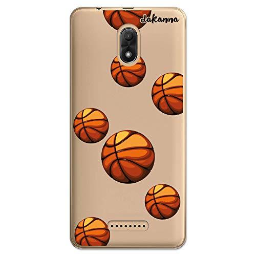 dakanna Funda Compatible con [Wiko Jerry 3] de Silicona Flexible, Dibujo Diseño [Patrón Balón de Baloncesto], Color [Fondo Transparente] Carcasa Case Cover de Gel TPU para Smartphone