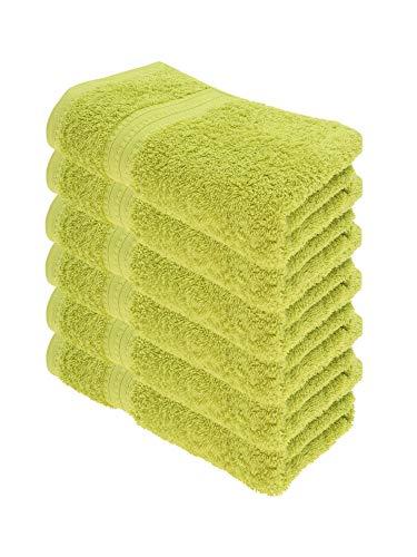 Julie Julsen Juego de toallas orgánicas (6 toallas en 32 colores, suaves y absorbentes, 50 x 100 cm), color lima