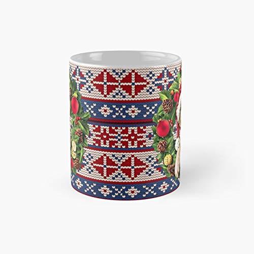 Taza clásica de invierno con diseño de perro en un sombrero de Papá Noel | El mejor regalo divertido tazas de café 11 oz