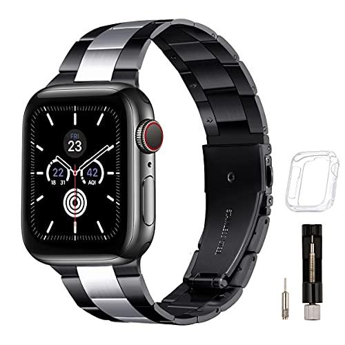 GEARYOU Pulsera de metal compatible con Apple Watch, 44 mm, 42 mm, 40 mm, 38 mm, pulsera de negocios, de acero inoxidable, compatible con iWatch Serie 6/5/4/3/2/1, SE (42 mm, 44 mm, negro/plata)