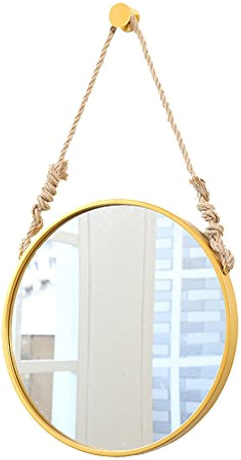 Li@ Wall-Mounted Wrought Iron Wall-Mounted Round European Makeup Mirror Creative Bedroom Bathroom Vanity Mirror (color   gold, Size   70CM)