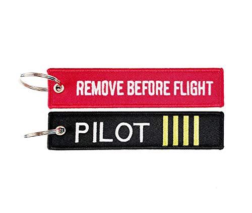 Pack de llaveros con el Texto Remove Before Flight y Pilot