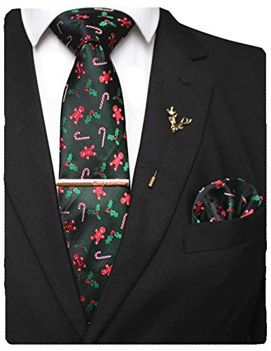 JEMYGINS Festival Silk Necktie Christmas Tie and Pocket Square with Tie Clip and Lapel pin Set(15)