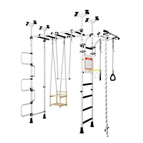 Sprossenwand Pegas 2 weiß-schwarz Druckmontage Gymnastik Schwedenleiter Klimmzugstange Trapez Indoor Spielplatz