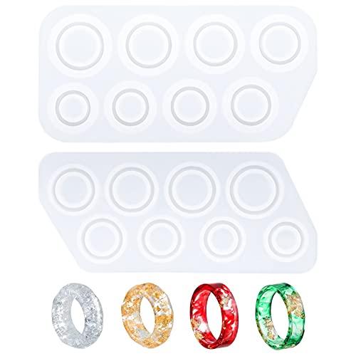 Jioisop 2個セット 指輪 シリコンモールド リング UVレジン型 リング型 レジン 樹脂 アクセサリーパーツ 抜き型 ハンドメイド 手作り DIY アクセサリー 道具 宝石 ペンダント ネックレス ジュエリー 手芸用品 レジンアクセサリー 初心者 ギフト