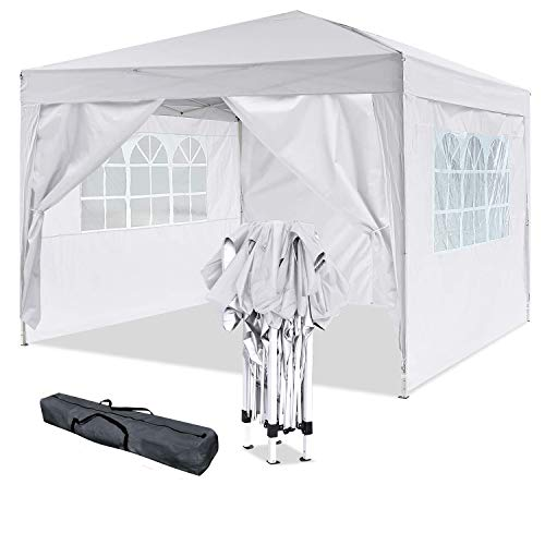 OUTCAMER Garden Gazebo Marquee Tent Fully Waterproof Canopy Party Wedding Tent with Side Panels for Outdoor Wedding Garden Party (3 * 3M, White)