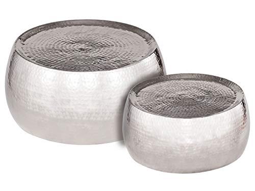 Couchtisch 2er Set 2. Wahl Dakar rund ø 59/49 x H 30/29 cm Silber o. Gold Aluminium gehämmert Farbe Silber