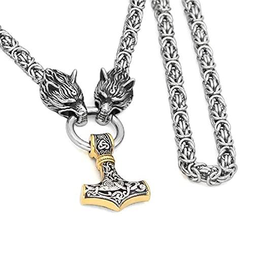 XIABME Viking Odin Thor's Hammer Mjolnir Collar con Colgante, con Cadena de Cabeza de Lobo, Acero Inoxidable para Hombres, Amuleto de Fenrir de Oro Mixto, joyería pagana