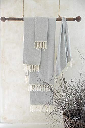 Jeanne d´Arc living Handtuch Gästetuch Badetuch Fransen gewebt Braun Creme Rose Vintage versciedene Größen (40 x 60 cm, Cream Grey)