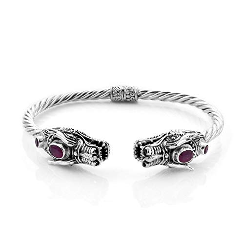 Royal Bali Ruby Dragon Head Bangle for Women in 925 Sterling Silver Animal Jewellery for Nature Lover Size 7.5 Inches, TCW 3ct