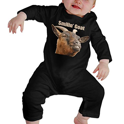 Uterala Smiling Goat Newborn Baby Boy Romper Jumpsuit Infant Baby Girl Long Sleeve Outfit Black