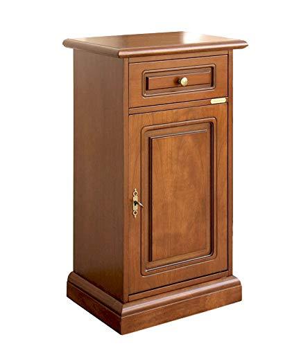 Arteferretto Kleiner Schrank aus Holz für Telefon, Stilmöbel für Flur/Wohnzimmer, Kleinmöbel 1 Schublade 1 Tür, Kleinmöbel Holz vielseitig, Schon montiert, Made in Italy