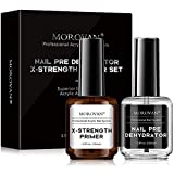 Professional Natural Nail Prep Dehydrator and Nail X-Strength Primer, Acid-Free No Burn Primer Superior Protein Bonding, Fast Air Dry for Acrylic Application Gift Box Set