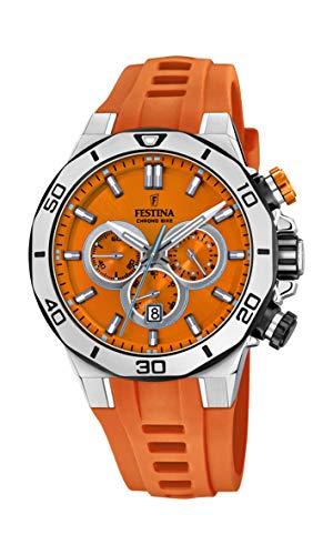 Festina Unisex Erwachsene Chronograph Quarz Uhr mit Silikon Armband F20449/C