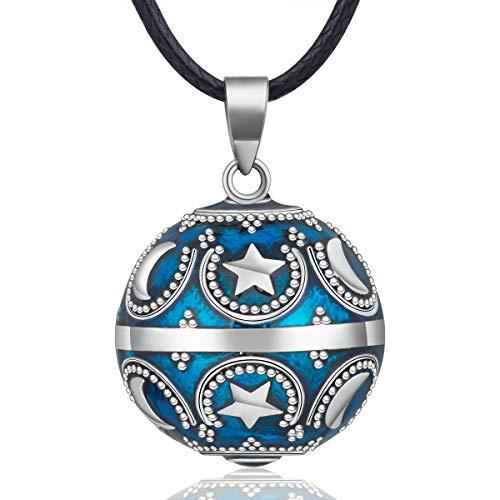 EUDORA Harmony Ball Estrella Luna Collar de Mujer, Llamador de Angeles Embarazada, Colgantes de Mujer Primer Embarazo Mamá Amigo Hermana Esposa Mejor Regalo, 114,3CM + 76,2CM