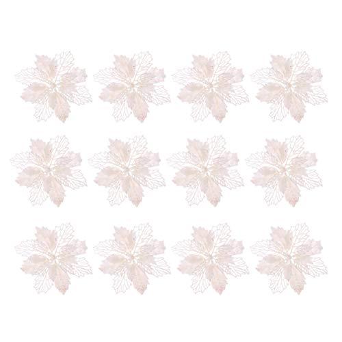 TOYANDONA 12pcs Glitter Stella di Natale Fiori Artificiali Albero di Natale Ornamenti Floreali Decorazioni Ciondolo Albero di Natale Corona di Natale riempimento (Bianco)
