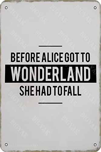 Antes de Alice Got to Wonderland She Had To Fall Tin Vintage Look 20 x 30 cm Cartel de decoración para el hogar, cocina, baño, granja, jardín, garaje, citas inspiradoras decoración de pared