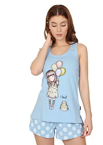 Santoro Pijama Tirantes I Wish para Mujer, Color Azul, Talla
