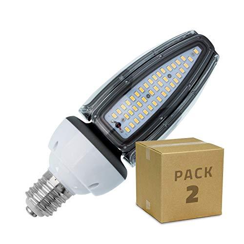 LEDKIA LIGHTING Pack Lámpara LED Alumbrado Público Corn E40 50W IP65 (2 un) Blanco Neutro 4500K - 5000K