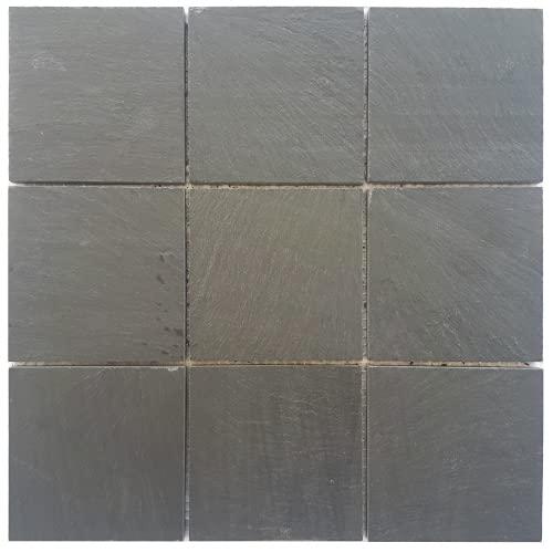 Mosaico mate pizarra antracita 30 x 30 cm mate piedra natural azulejos negro M049
