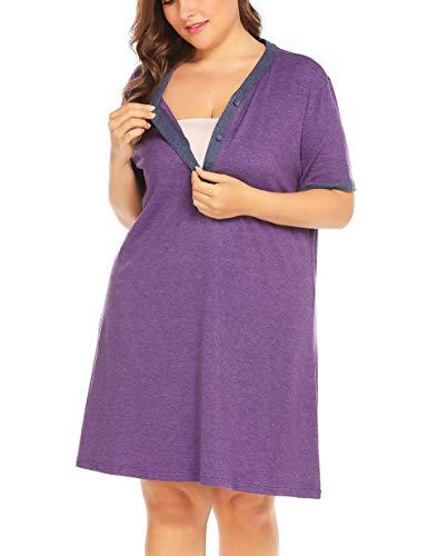 IN'VOLAND Women's Plus Size Sleepwear Cotton Short Sleeve V-Neck Maternity...