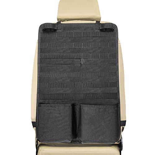 Tactical Seat Back Organizer-Tactical MOLLE Vehicle Panel with Gun Rack, Seat Back Covers, Molle Seat Organizer, Car Seat Cover Protector Universal for Truck SUV MPV Saloon, Black