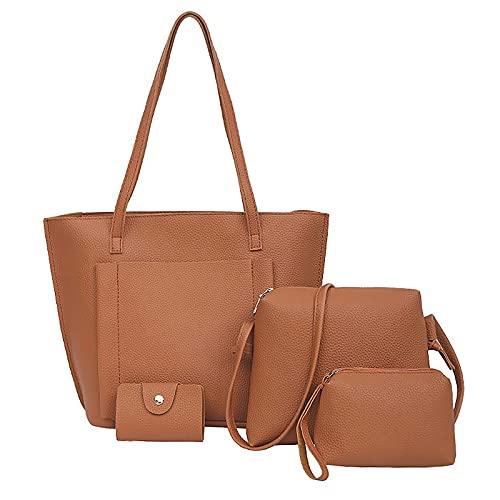 NAQUSHA Juego de 4 piezas de bolso de mano para mujer, bolso de hombro, bolso de mano, bolso de mano, bolso de mano, bolso de mujer, grande, diseño elegante marrón Talla única