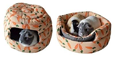 Snuggle Carrot Soft Plush Cosy Bed, Tunnel, Beehive, Rabbits Guinea Pigs (2 In 1 Carrot Beehive Bed) by Rose-Wood