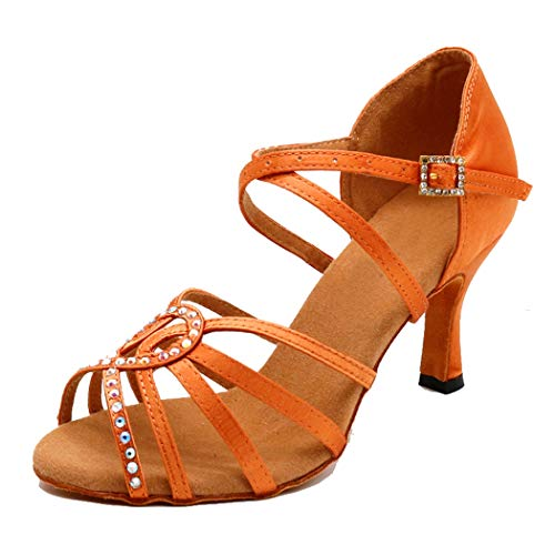 MGM-Joymod Damen Peep Toe Cut-Out Cross Strap Strass Jazz Rumba Samba Ballsaal Latin Dance Schuhe Hochzeit Party Sandalen, Braun - Orange Braun 7 cm Absatz - Größe: 36.5 EU
