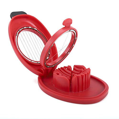 Egg Slicer for Hard Boiled Eggs,Easy to Cut Egg into Slices, Wedge and Dices, Sturdy ABS Body with Stainless Steel Wires,Non-slip Feet,Dishwasher Safe, BPA Free(RED)