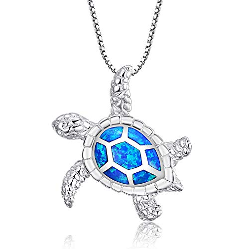 Victoria Jewelry [Health and Longevity] 925 Sterling Silver Created Blue Opal Sea Turtle Pendant Necklace 18', Birthstone Jewelry for Women(Blue)