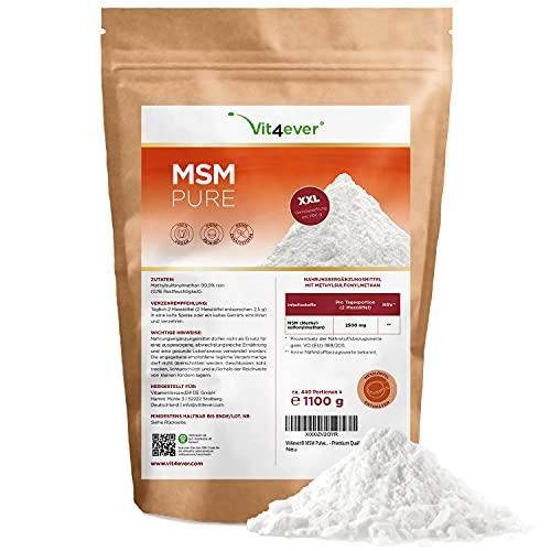 MSM en polvo - 1,1 kg (1100g) - Metilsulfonilmetano cristalino 99,9% puro - Factor de malla 40-80 - Azufre orgánico - Vegano